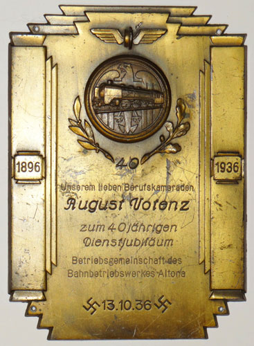 Reichsbahn 40 Year Long Service Plaque