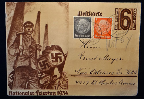 Nazi Labor Day Postcard with New Orleans LA, USA Address