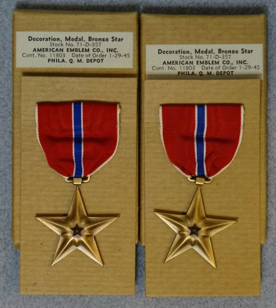 "Boxed WW II ""Bronze Star"" Medals"