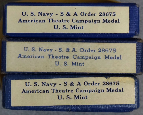 "U.S. Navy Boxed WW II ""American Campaign"" Medals"