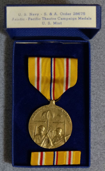 "U.S. Navy Boxed WW II ""Asiatic-Pacific"" Campaign Medal"