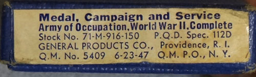 "Boxed WW II ""Army of Occupation"" Medal"