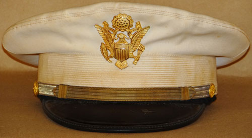 WW II U.S. Army Officers White Summer Dress Visor Hat