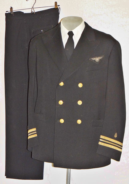 "Named WW II U.S. Navy ""LCDR"" Dark Blue Coat with Trousers with Bullion Flight Surgeon Wings"
