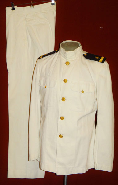 Named WW II White Dress Coat & Trousers for Ensign with Pearl Harbor Submarine Base Tailor Tag