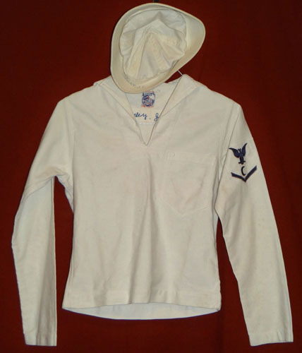 "WW II U.S. Navy 3rd Class Petty Officer ""Cook"" White Jumper with Sailors Cap and Paper Work"